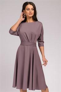Изображение Платье DM01046MO длины миди с защипами на талии; цвет: какао