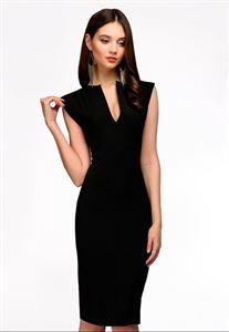 Изображение Платье DM00015BK футляр без рукавов с V-образным вырезом черное