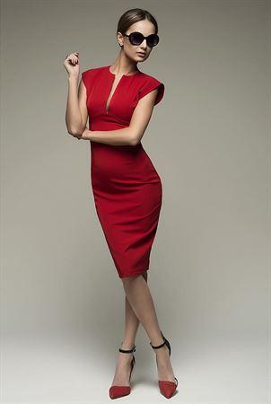 Изображение Платье DM00015RD футляр без рукавов с V-образным вырезом красное