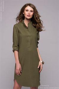 Изображение Платье DM00772GR зеленое длины мини с разрезами по бокам