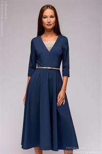 Изображение Платье DM01375LB синее длины миди с кружевной вставкой и рукавами 3/4