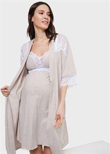 """Image de Set dans la maternité avec dentelle (chemise """"robe) pour femmes enceintes et allaitement"""" Dolce; beige"""