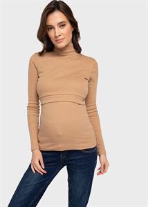 """Изображение Водолазка утепленная """"Кейтлин"""" для беременных и кормящих; бежевый"""