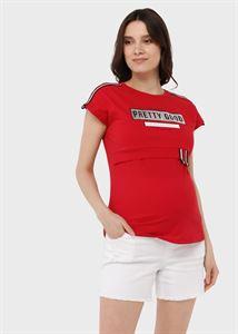 """Изображение Футболка с принтом для беременных и кормления """"Лана""""; красный"""