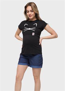 """Изображение Футболка с принтом для беременных и кормления """"Лана""""; черный"""