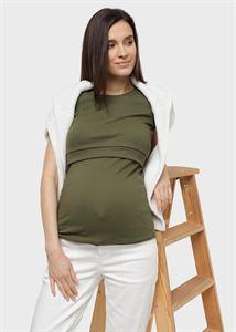 """Изображение Футболка """"Веста"""" для беременных и кормящих; цвет: хаки"""