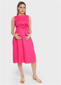 """Изображение Платье льняное """"Иоланта"""" для беременных и кормящих; цвет: фуксия"""