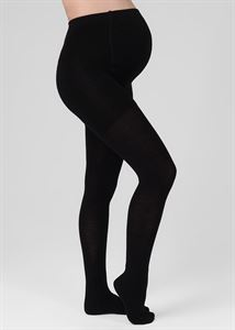 Image de Collants de maternité 450 deniers avec dessus et orteils chauffants; couleur noire