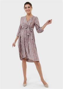 """Изображение Вечернее платье плиссе с блестками и поясом для беременных и кормления """"Мэлси""""; бежевый"""
